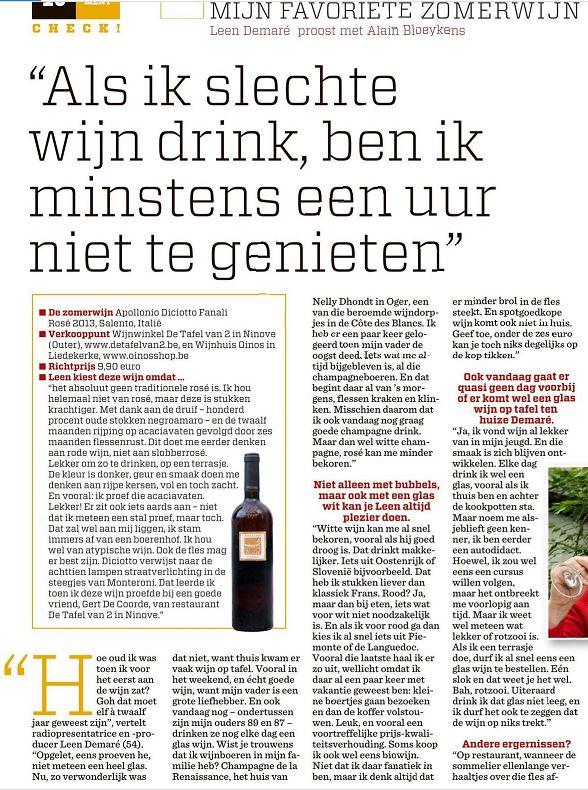 Artikel favoriete wijn BV Leen Demaré